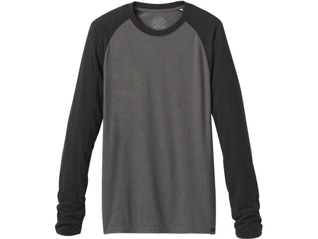 Prana Baseball Raglan Camiseta Manga Larga Hombre, negro/gris